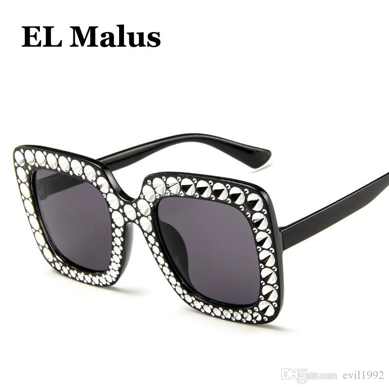 [EL Malus] Kare Çerçeve Güneş Kadınlar İmitasyon Pırlanta Marka Büyük Güneş Gözlükleri Bayanlar 2018 Yeni Gözlük Degrade Pembe Ayna ulculos SG006