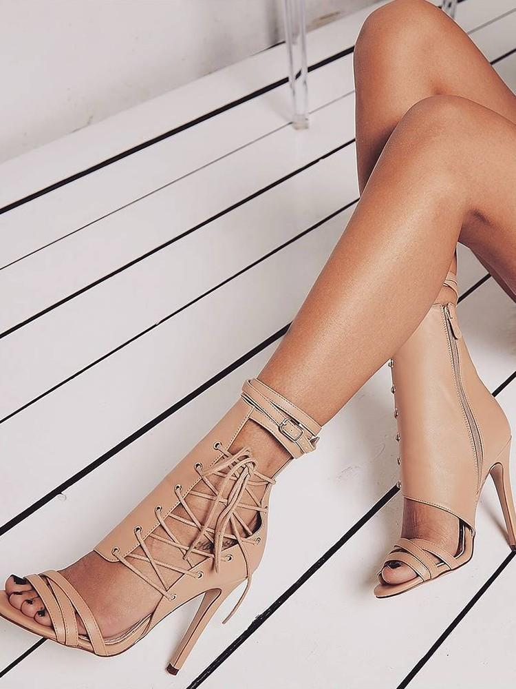 Summer open toe sexy sandals black apricot belt buckle gladiator stiletto high heels boots leather nightclub shoes for women