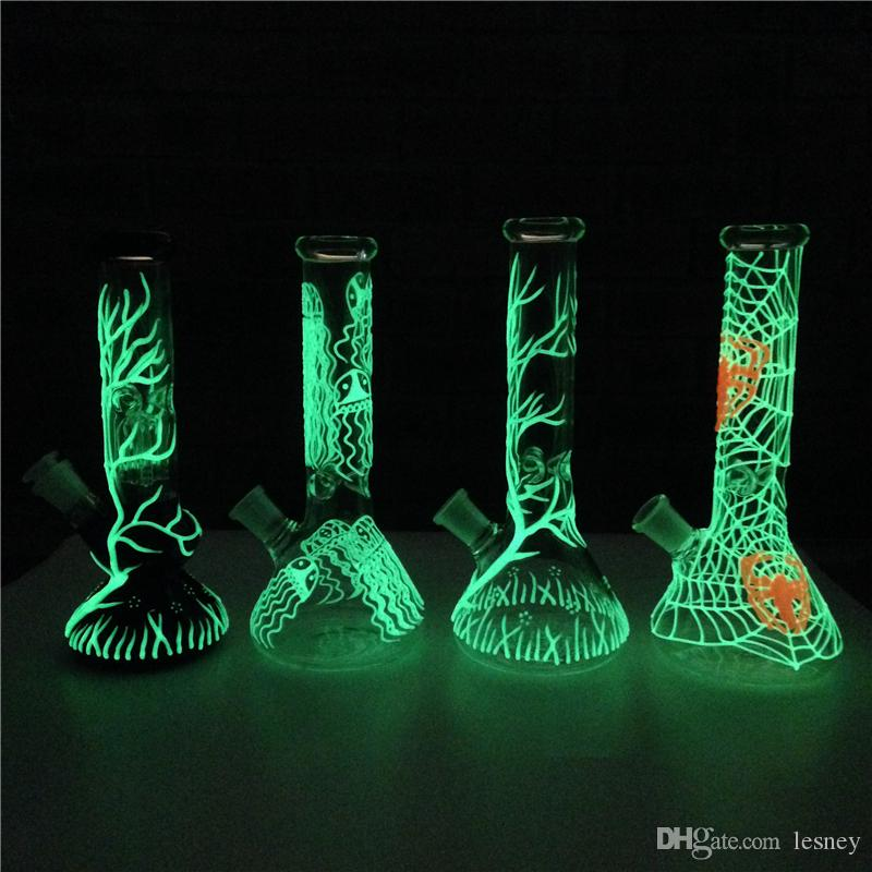 New Jellyfish UV Beaker Bongs Glow In the Dark Bong Glass Water pipes 4 Arm Tree Perc Percolator Dab Rigs With Downstem Bowl
