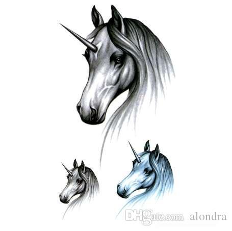 يونيكورن ماء الأوشام المؤقتة الرجال maquiagem الجمال الحصان المؤقتة الوشم ملصق tatouage temporaire adesivos