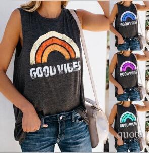 Camisetas sin mangas del arco iris de las mujeres Camisetas sin mangas femeninas casuales del verano