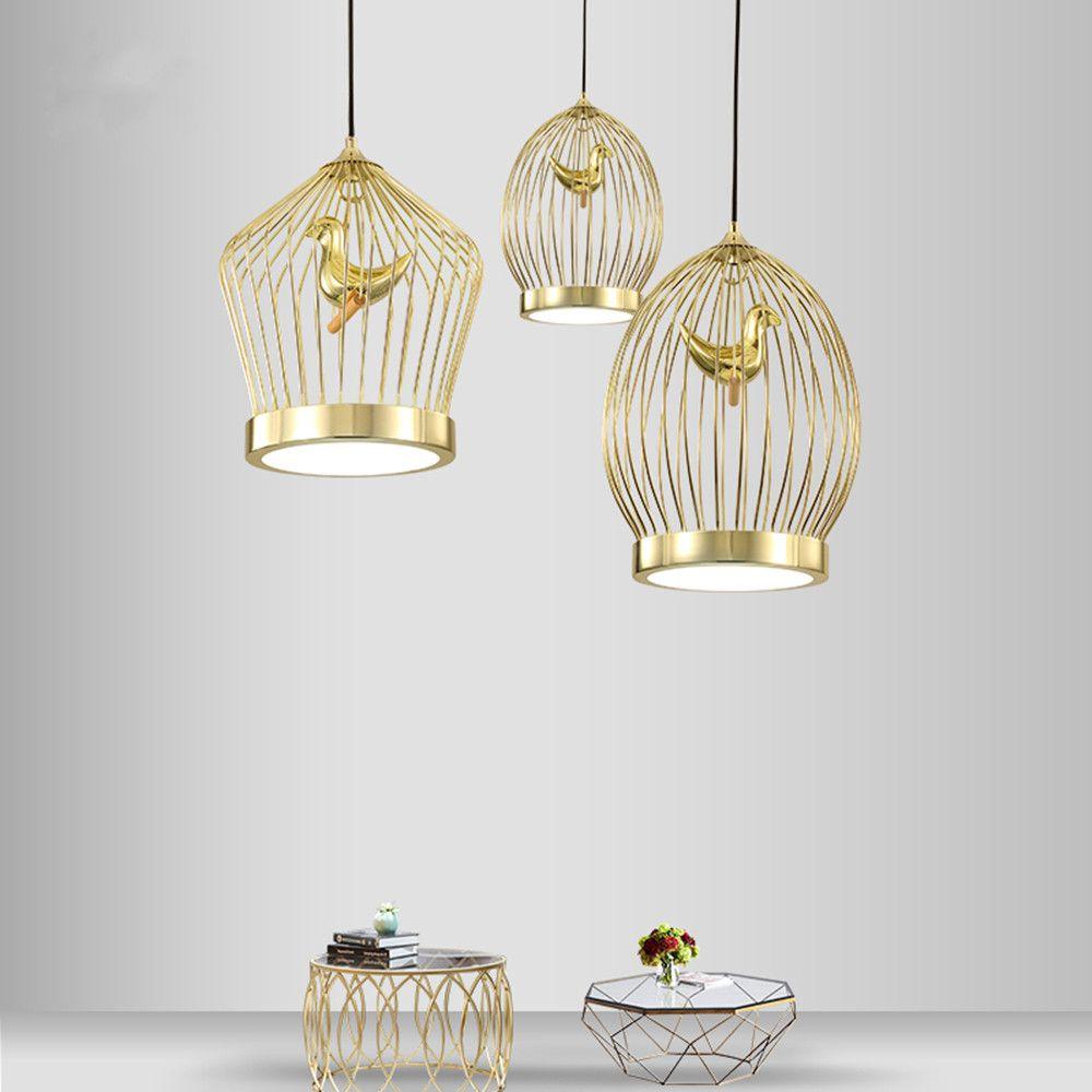 Moderna lampada a sospensione a forma di gabbia per uccelli in oro a LED Art