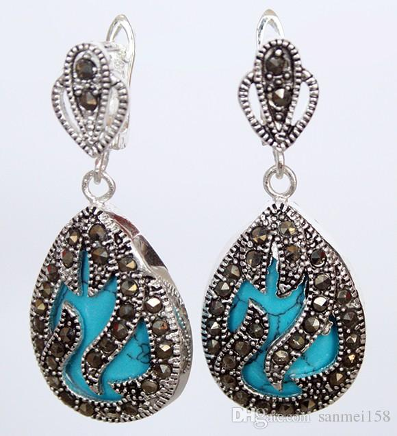 """11/2 """"jóias da moda 925 prata marcassita incrustada azul pedra natural brincos de água jade brinco de bola de pedra natural brinco"""