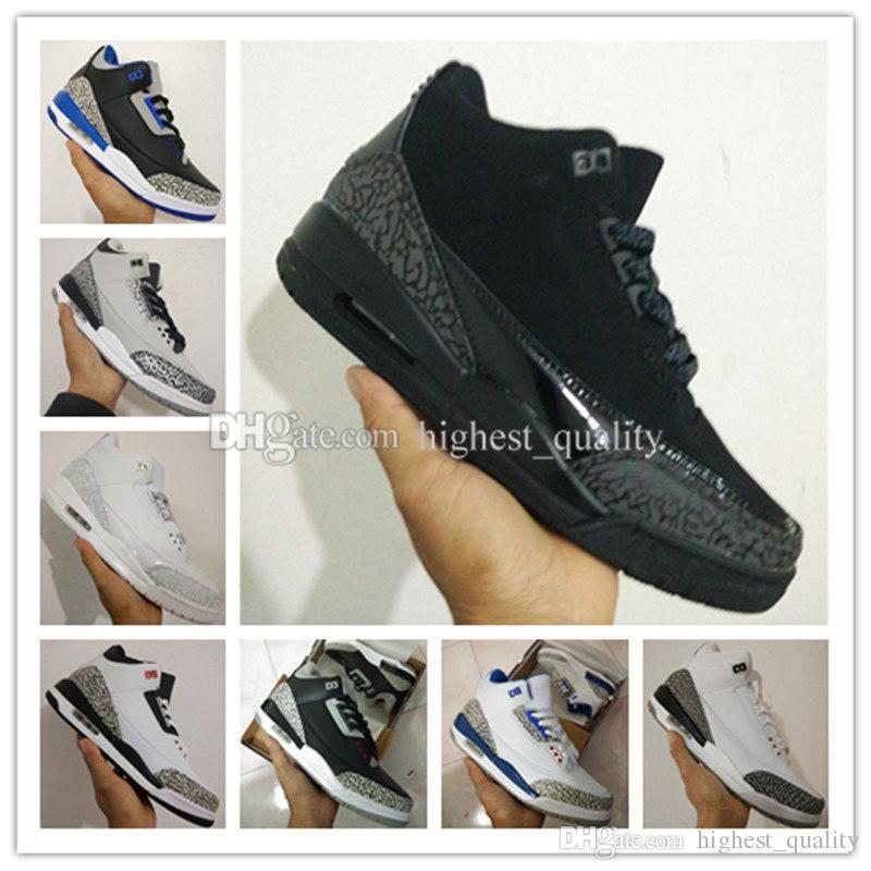 2017 sapatos baratos 3 tênis de basquete para homens sapato de treinamento atacado s atletismo sapato de basquete preto branco cimento lobo cinza esporte nos 8-13