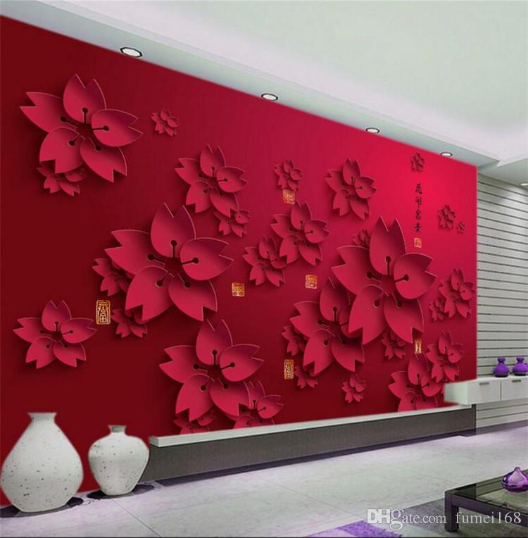 3d Wallpaper Hd Red Flower Photo Mural Living Room Home Decor Wall Paper Papel De Parede Abstract Floral Wallpaper Beautiful Wallpaper Beautiful