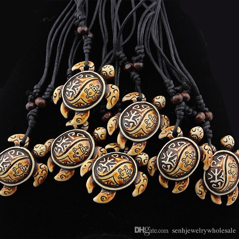 NOUVEAU Bijoux De Mode En Gros 12 PCS / LOT Tribal grenouille soleil tortues pendentif Hommes Surf Collier De Tortue Charmes Amulette Talisman Cadeau MN603