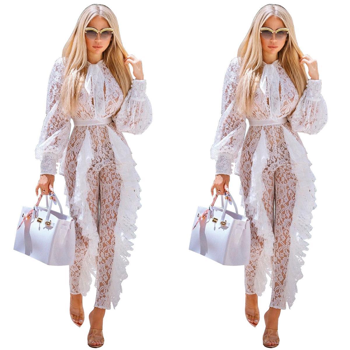 À volants pure dentelle combinaison cravate noeud lanterne à manches longues barboteuse élégantes femmes barboteuses haute qualité nuit club globale vente chaude