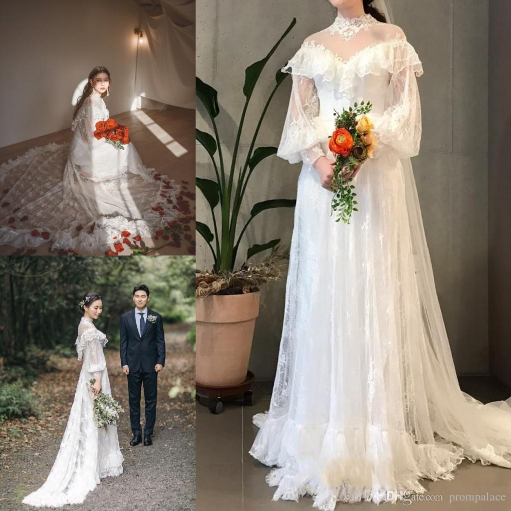 Новый Дизайнер Свадебные Платья Высокая Шея Кружева Аппликации Большие Длинные Рукава Кружева Прополка Свадебные Платья На Заказ