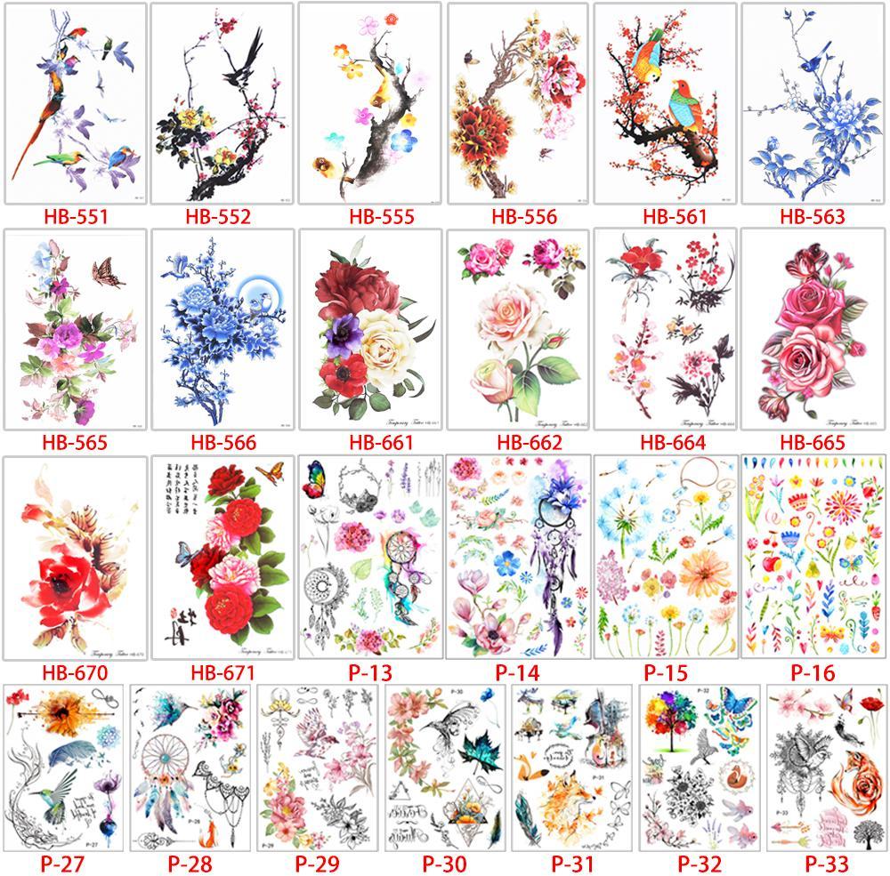 1 pc fleur oiseau décalque faux femmes hommes bricolage henné body art conception de tatouage papillon branche d'arbre vif autocollant de tatouage temporaire