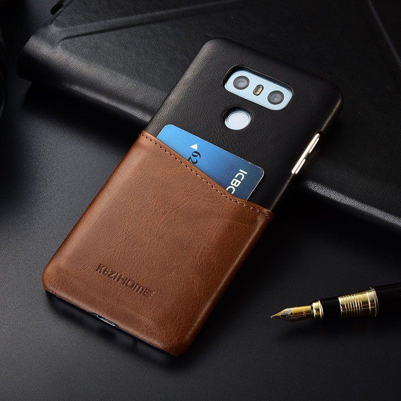 Lüks vintage hakiki deri arka kapak Için LG G6 G7 durumda ile kart cep tutucu telefon kılıfları ve kapakları