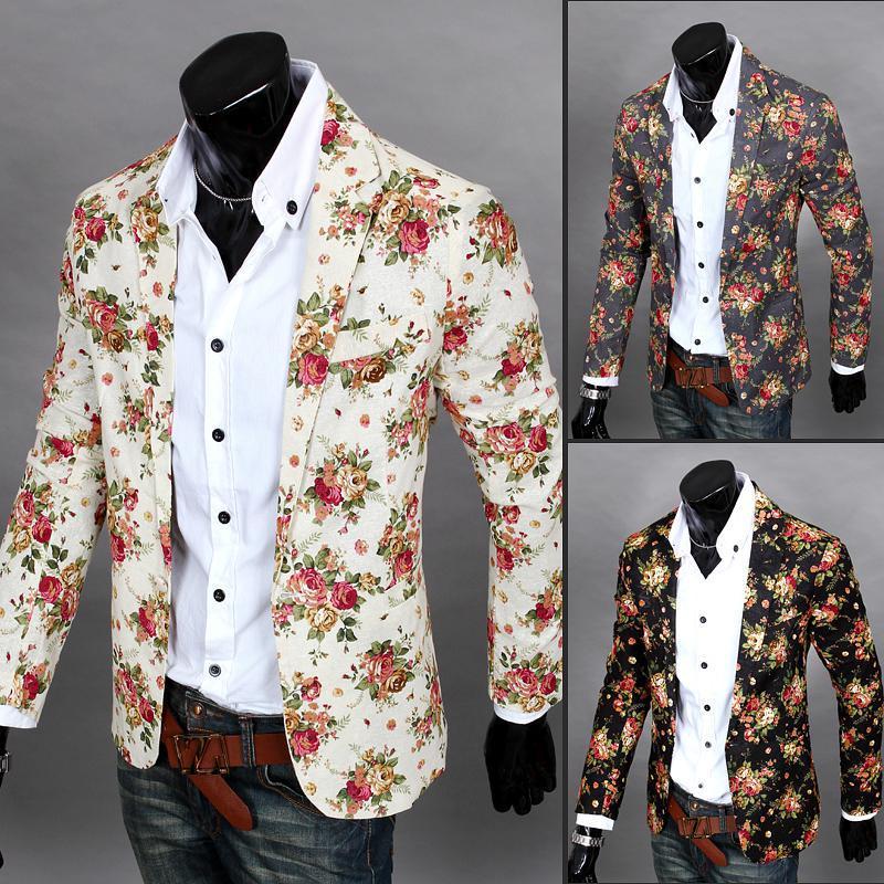 2018 yılbaşı tasarımcı Erkekler Giyim Lüks Tasarımcı Erkek Blazer Ceket baskı Şık Fantezi Marka çiçek Erkekler Suits Blazers
