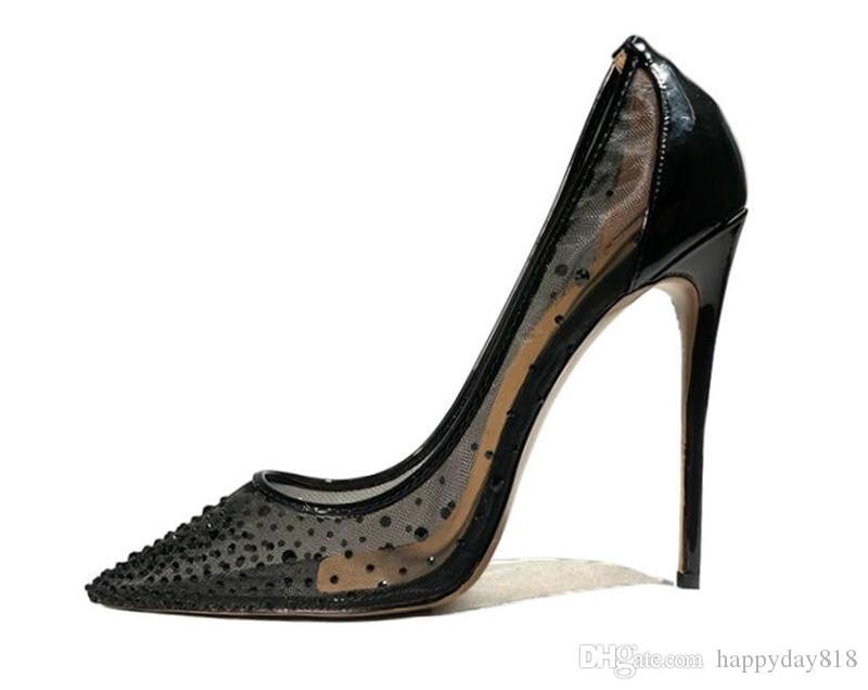 Free shipping bride wedding High Heels Sexy Black Summer mesh crystal strass Pointy toe shoes womens pumps pointed toe ladies shoes