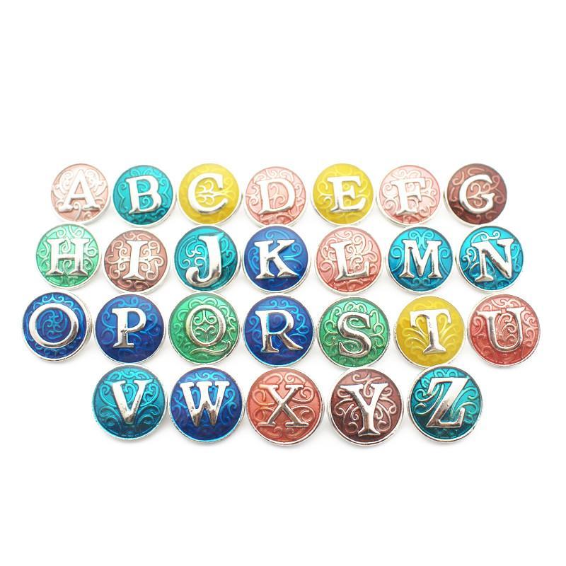 Mélanges 26pcs / lot Metal Colorful Alphabet A-Z Lettre Snap Button Charms Pour 18mm / 20mm Ginger Snaps Bouton Bracelet Collier Bijoux