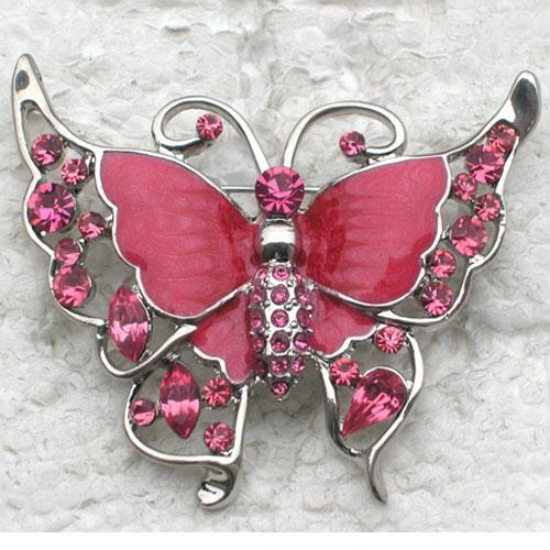Partihandel Crystal Rhinestone Enameling Vacker Butterfly Pin Brosch Smycken Present C897