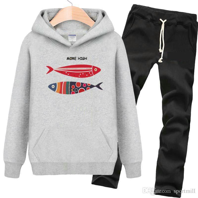 Daha yüksek hoodies Güzel desen balık ter gömlek Serin polar giyim Kazak tişörtü Spor ceket Açık ceketler