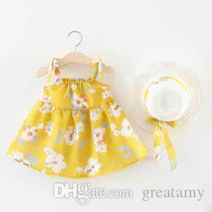 여름 새로운 작은 여자 비치 스커트 아기 옷 어린이 꽃 스커트 모자와 여성 아기 스트랩 드레스