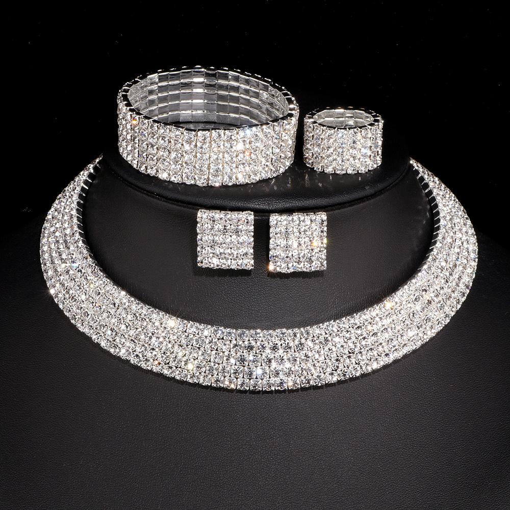 Set di gioielli da sposa di cristallo romantico di lusso set di anelli da sposa orecchini di braccialetti di colore argento per le donne W001