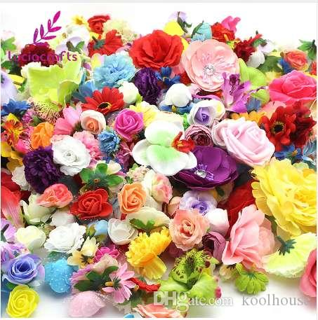 Lucia crafts 50g/lot,Approx 35pcs Random Mixed Color Size Artificial Flower Head Wedding Party DIY Decoration Supplies 027017072
