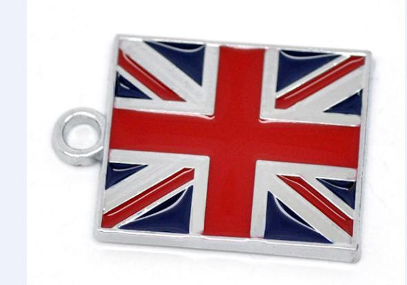 7pcs/lot UK Flag Charms Silvertone Enamel Pendant 15x21mm