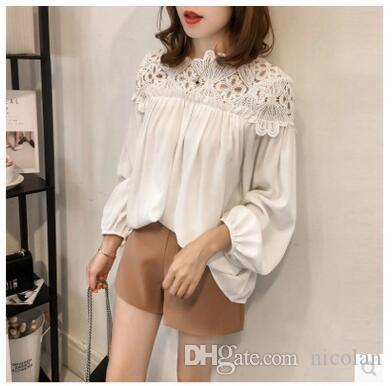 Blusa de las mujeres Blusa suelta Blusas de encaje de manga larga Boho Tops Vintage bordado Flor Blusa de ganchillo Camisas de las mujeres