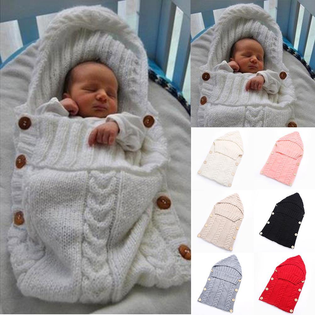 2018 Bebek Kundak Şal Sıcak Yün Tığ Örme Yenidoğan Bebek Uyku Tulumu Bebek Kundaklama Battaniye Uyku Çantaları bebek battaniye yenidoğan