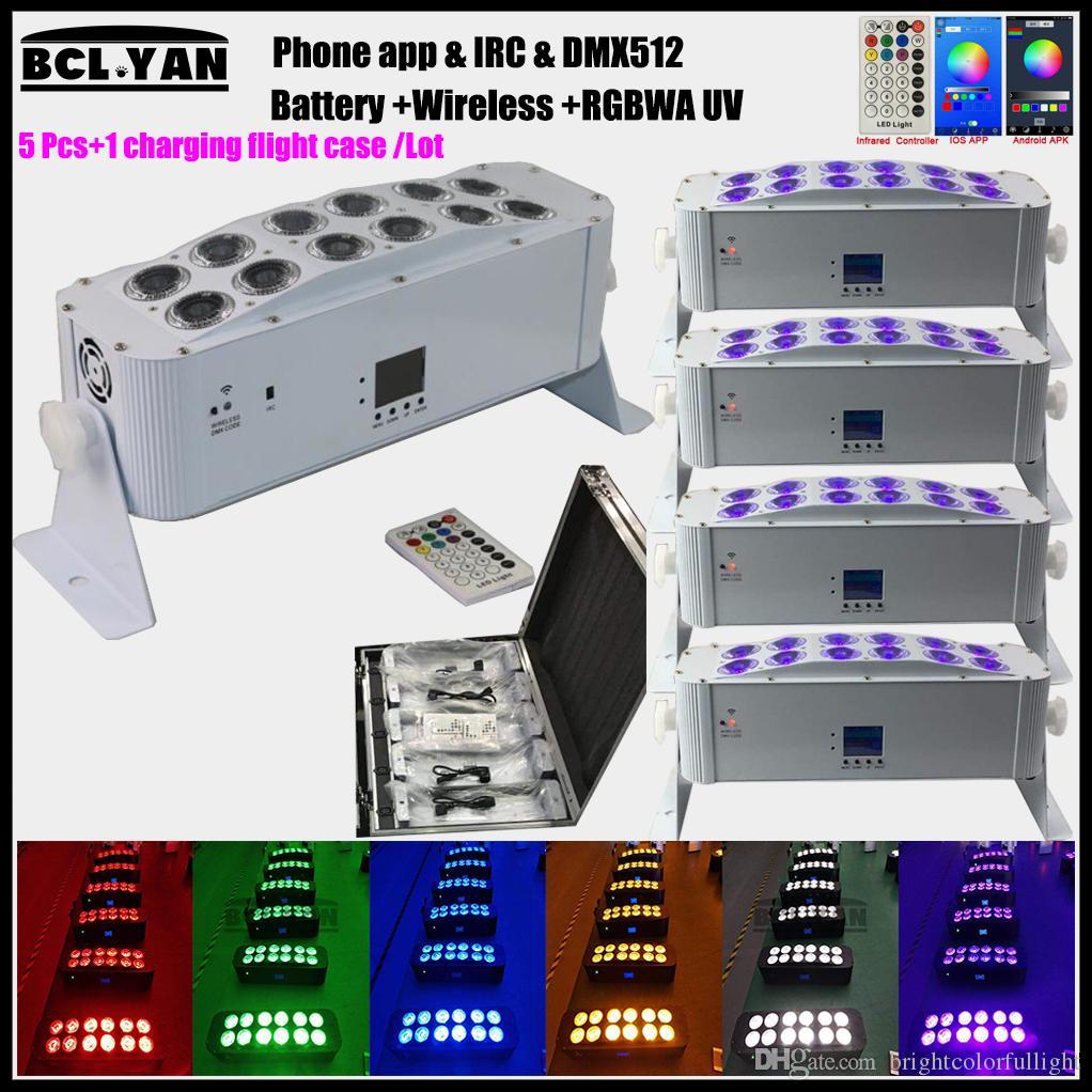 5XLot Etapa de iluminación luz recargable 12x18w batería inalámbrica bañador de pared par partido uplight con estuche de carga Wifi