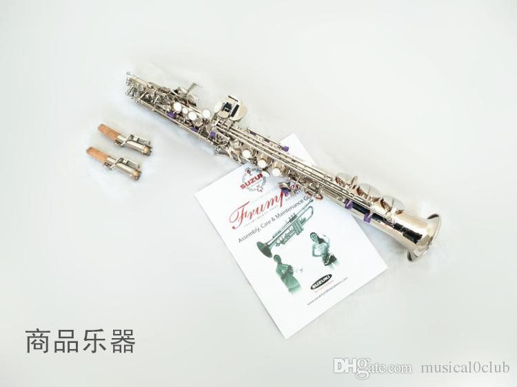 Suzuki Yüksek Pitch Soprano Saksafon B Gümüş Kaplama Yüzeyi Saxofone Soprano Saksafon iki Boyun ile