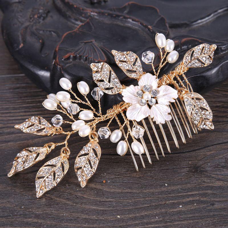 Pentear o cabelo de jóias folheadas cabelo casamento Handmade nupcial headpiece dama cabelo acessórios femininos cor Gold noiva peruca S918