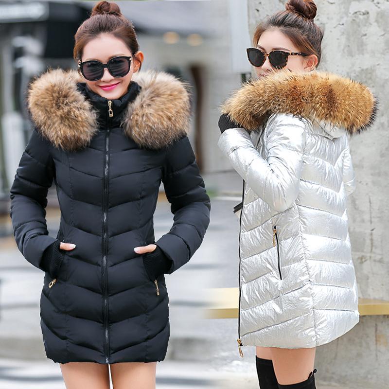 New Long Parkas Female Womens Winter Jacket Coat Thick Cotton Warm Jacket Womens Outwear Parkas Plus Size Fur Coat 2018