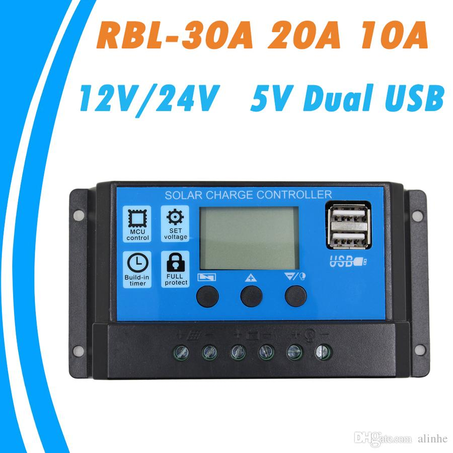 LCD 30A Solar Panel Battery Regulator Charge Controller 12//24V Auto PWM one U I.
