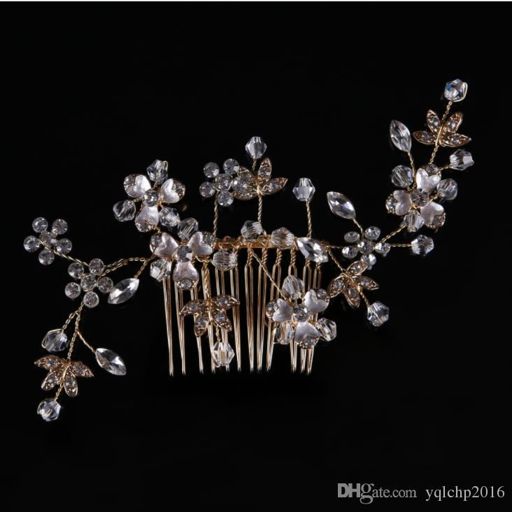 Алмазный гребень, головные уборы ручной работы из золота и серебра, фата, аксессуары для волос, аксессуары