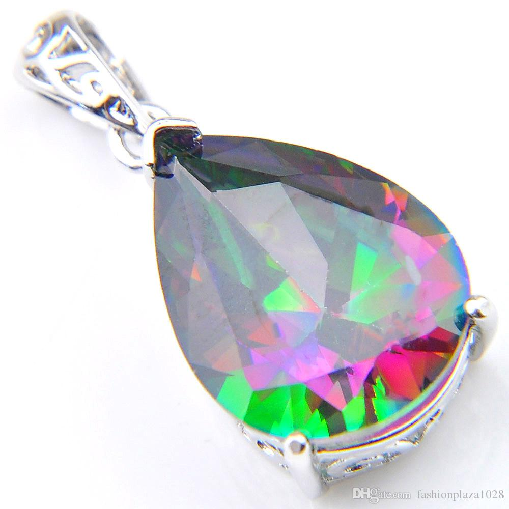 10 Pcs Acessories for Jewelry Rainbow Natural Mystic Topaz Pendants 925 Silver Women Crystal Zircon Necklaces Pendant Christmas Gift