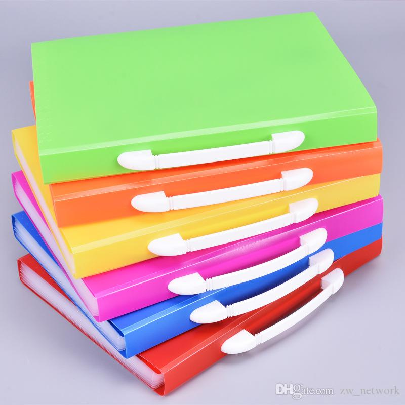 Hot colored Pockets Expanding Files Folder A4 Expandable File organize Portable Accordion File Folder Office Document Briefcase bags