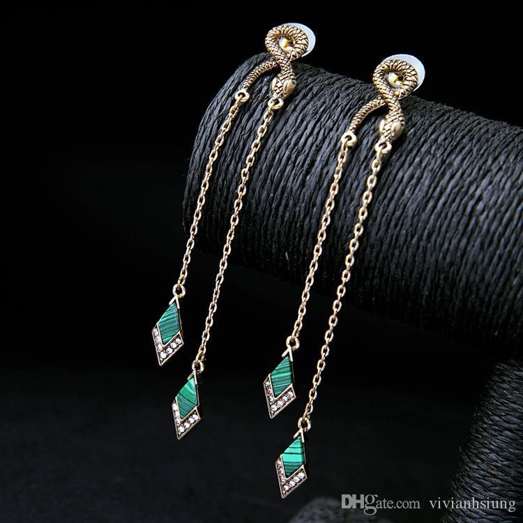 Modeschmuck Großhandel Retro- Schlange besetzte Quasten Damen-Ohrringe Lange Geometric Ohrringe