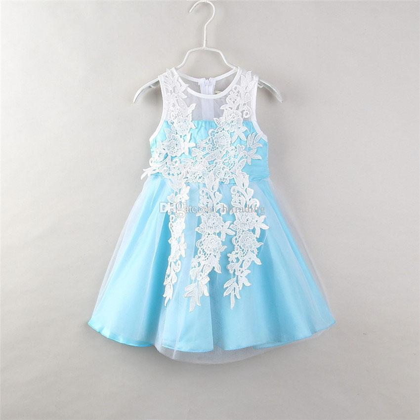 2019 Baby Girls 3d Appliqued Dress 2018 Summer Children Lace Net Yarn Princess Dresses Boutique Kids Flower Ball Gown C3806 From Hltrading 1002