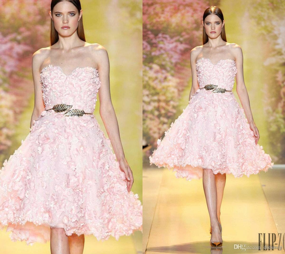 Zuhair Murad Prom Dresses Sweetheart Lace 3D Floral Appliques Knee Length Pink Formal Party Gowns Custom Made Elegant Evening Dress