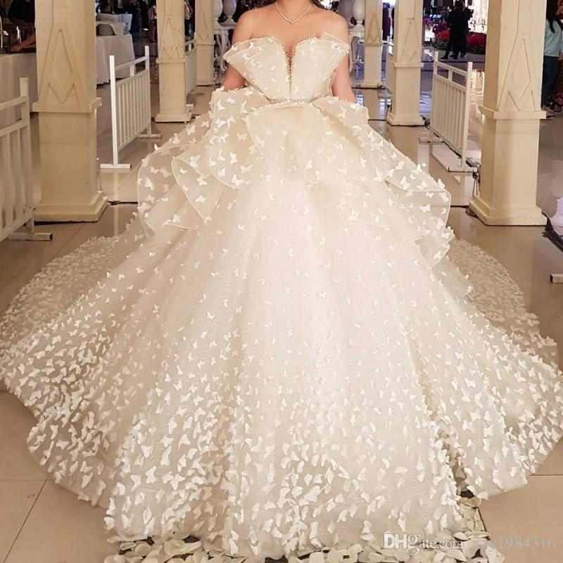 Exquisitely Butterfly Applique Wedding Dress Sexy See Through Neckline Beaded Sash Bridal Dress Magical Romantic Chapel Train Wedding Dress