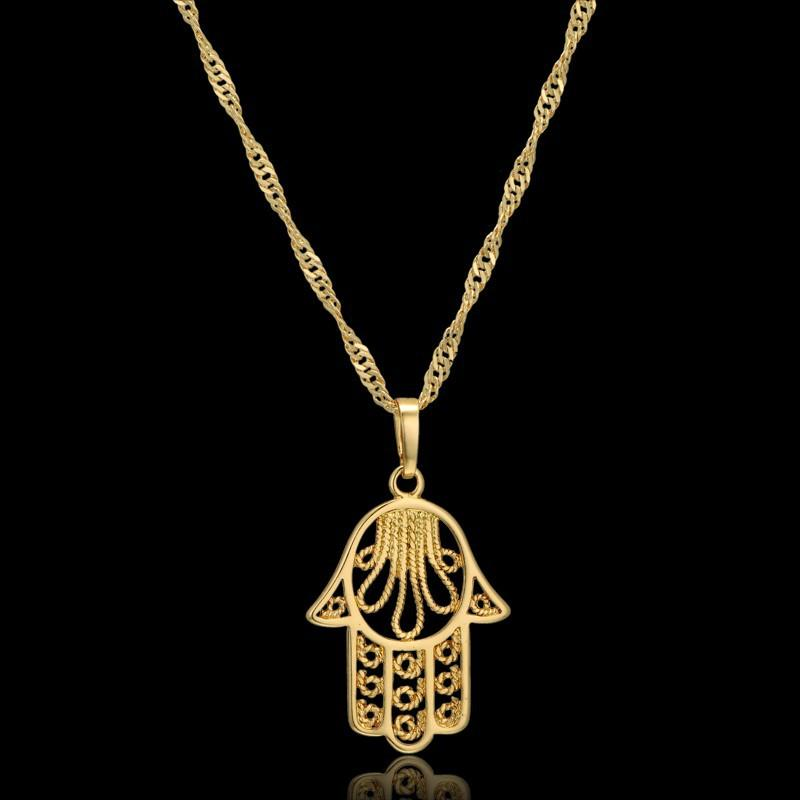 "Mini Hand Of Fatima Pendant Necklace Gold Color Woman Fashion Pendants 19"" Ethnic New Statement Hamsa Hand Necklace"