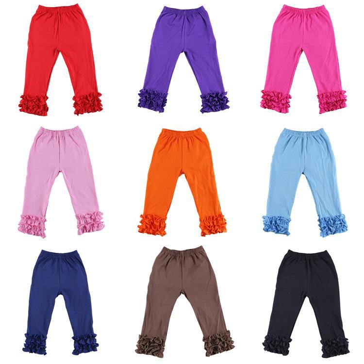 New Baby Girls Leggings Kids Cotton Ruffle Pencil Pants Fashion Children Skinny Trousers Clothing