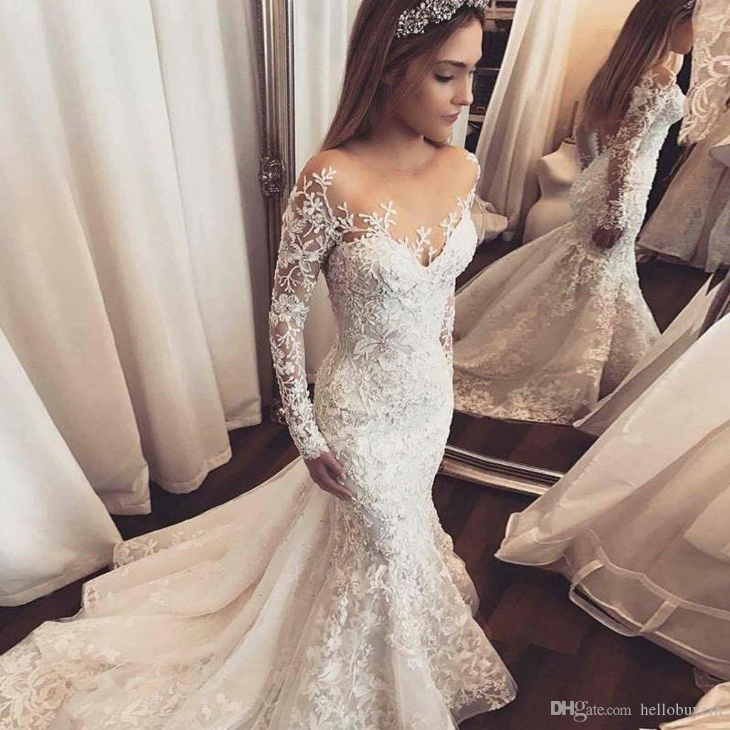 Vestiti Da Sposa Wedding.Vintage Luxury Lace Mermaid Wedding Dresses Long Sleeve Bling Long