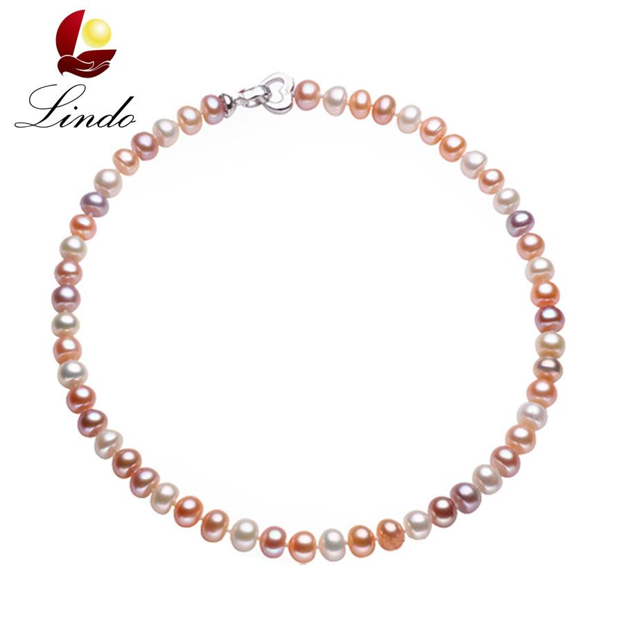 43/45/50/60/80cm Long Necklace For Women Classic 8-9MM Big Size Natural Pearl Choker Necklace multi color pearl necklace Y1892805