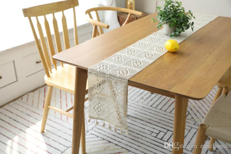 Table Runners Ins Hot Lace Table Cloths for Home Decoration Delicate Lace Table Runner Cloths with Fringe Free Shipping