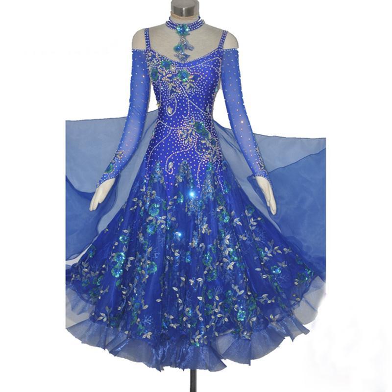 المرأة قاعة الرقص اللباس الملكي الأزرق مهنة مخصص الفالس تانجو الفلامنكو المنافسة زي سيدة فساتين الرقص