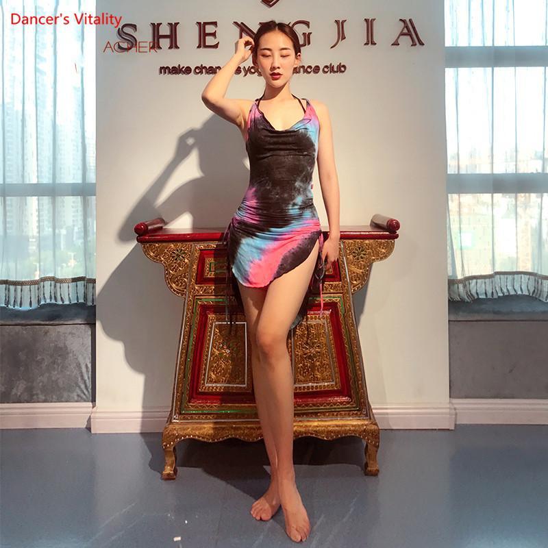 2018 NEW 민소매 스플릿 대회 벨리 댄스 코튼 코스튬 닷 밸리 댄스 복장 오리엔탈 댄스 복장