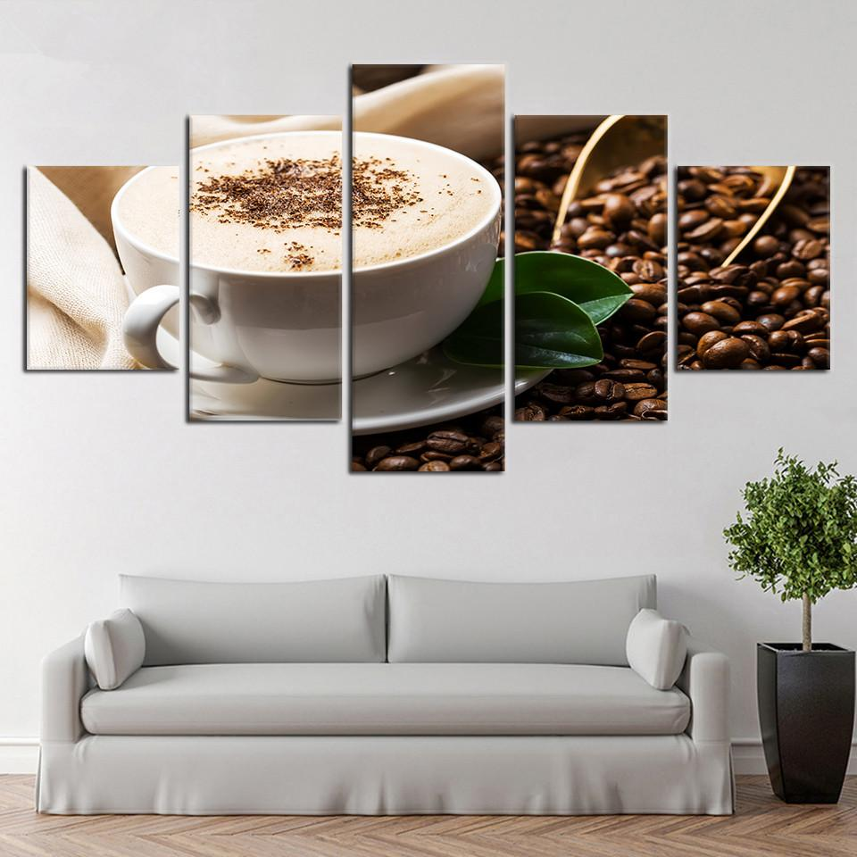 Waterproof Modern Pictures Modular Drinks Spray Canvas Poster 5 Pieces Coffee Grain Cup Unframed Painting HD Printing Decor Home