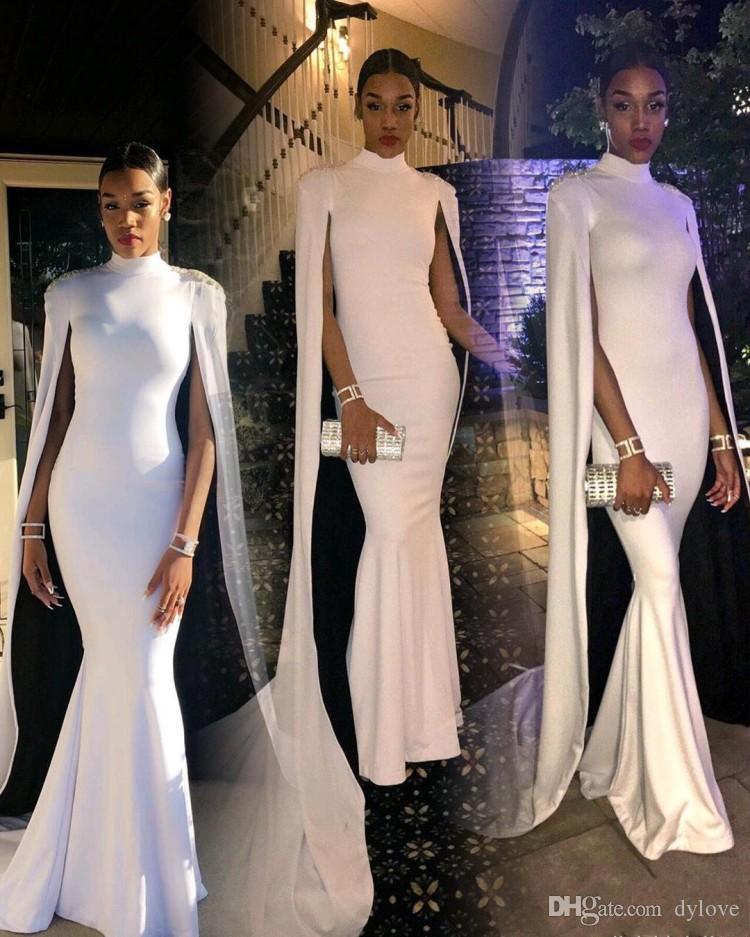 2021 Sexy barato Talla grande Vestidos de Fiesta Cuello alto Con Cabo Vestidos de noche formales Sirena Vestidos de fiesta de oro Tarde de fiesta