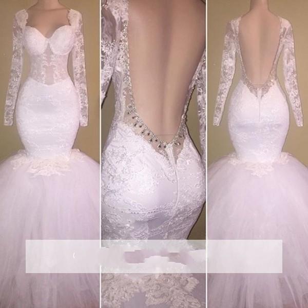 2018 Sexy White Mermaid Prom Dresses Sweetheart Applique in rilievo Illusion maniche lunghe aperte indietro Tulle arabo guaina abiti da sera del partito