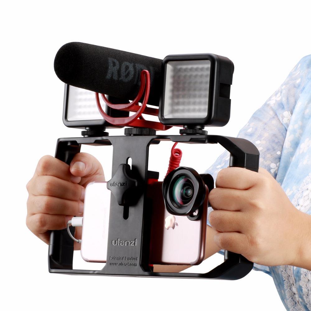 U-Rig Pro Smartphone Videorekorder w 3 Shoe Mounts Filmmaking Case Handheld-Telefon Video Stabilizer Griff Stativ Stativ