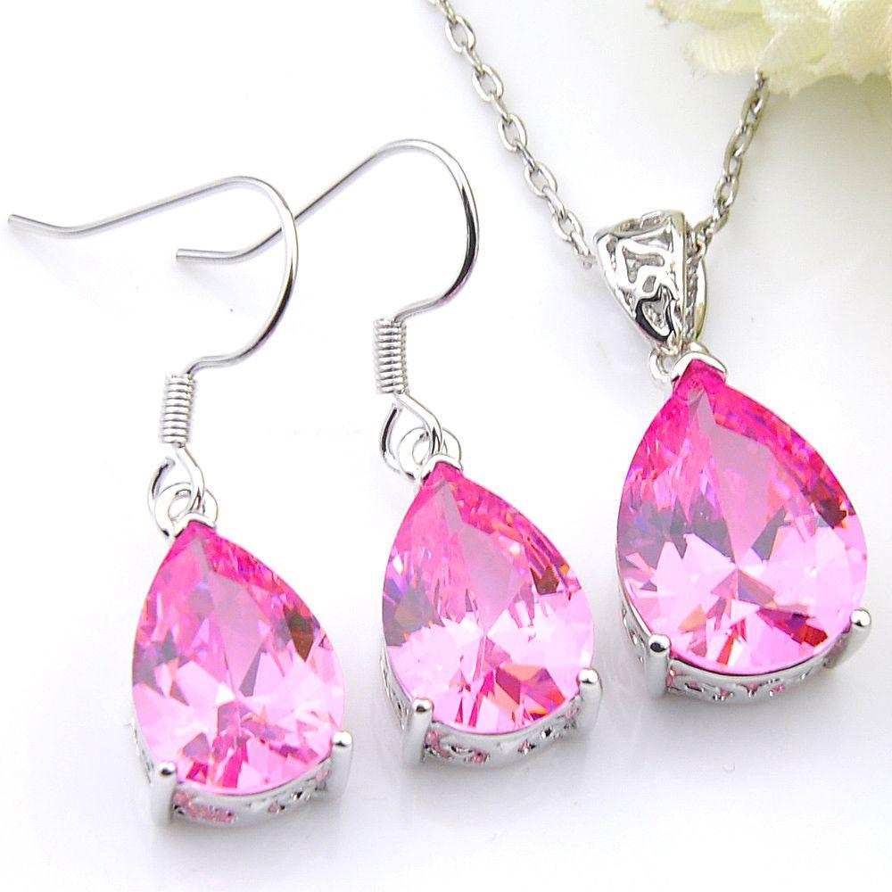 Luckyshine 5 Set acqua del lotto di goccia di colore rosa della pietra preziosa Kunzite 925 Per zircone collane orecchini di pendente di cristallo delle donne Wedding Jewelry Set