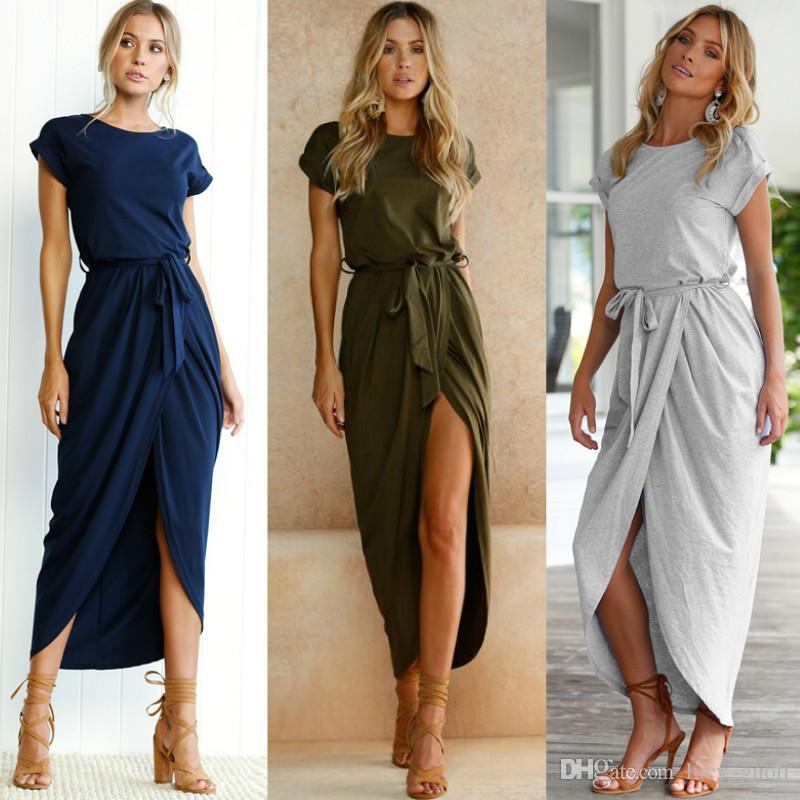 Hot New Sexy Women O-neck Short Sleeve Dresses Tunic Summer Beach Sun Casual Femme Vestidos Lady Clothing Dress Maxi Dress Plus size XS-3XL